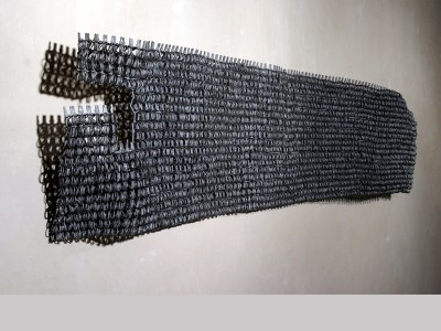 aula Castillo: steel by product and hand-twisted wire, 113 x 27 x 8 inches, 2009