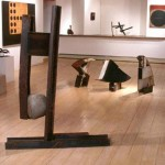 "Paula Castillo Sculpture: ""for,"" steel and river stone, 60 x 40 x 10 inches, 1999. New Mexico"