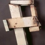 "Paula Castillo Sculpture: ""efe (for francis),"" steel, 27 x 14 x 8 inches, 1999. New Mexico"