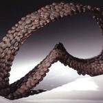 "Paula Castillo Sculpture: ""bird eclipse,"" steel, 12 x 24 x 5 inches, 2001. New Mexico"