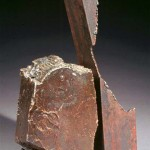 "Paula Castillo Sculpture: ""stone for your heart,"" steel, 12 x 4 x 9 inches, 1999. New Mexico"