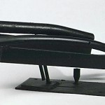 "Paula Castillo Sculpture: ""aspects of saturn,"" steel, 35 x 7 x 8 inches, 1999. New Mexico"