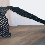"Paula Castillo Sculpture: ""waterfall,"" steel by product, 5 x 22 x 84 inches, 2001. New Mexico"