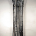 "AULA CASTILLO SCULPTURE: ""placeholder for displacements,"" Individually welded mild steel bi product, autobody finish, 11"" x 27"" x 3"", 2012"