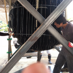In progress, 6'x 6' x 6', laser cut mild industrial steel, 2014, Icheon, South Korea