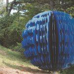 blue flower. 6'x 6' x 6', laser cut mild industrial steel, 2014, Icheon, South Korea